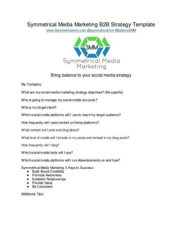 Social Media Marketing Strategy Template by Symmetrical Media Marketi…