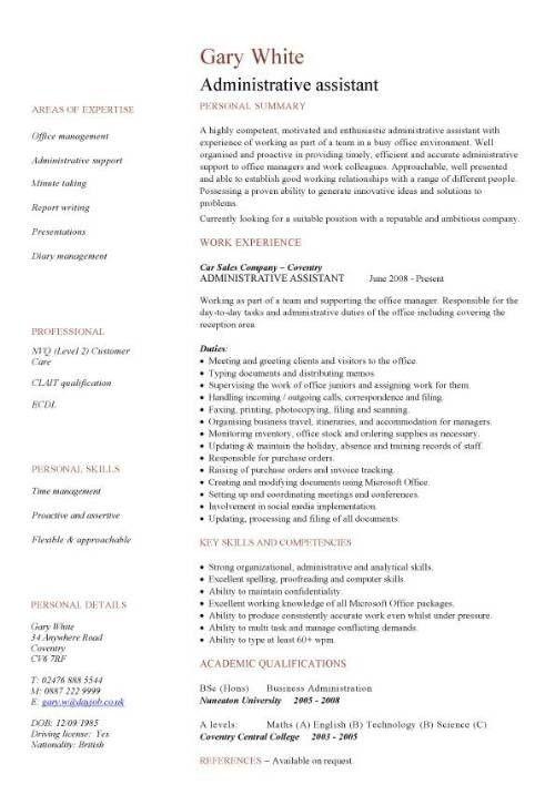 Administrative Assistant Job Description For Resume Template ...