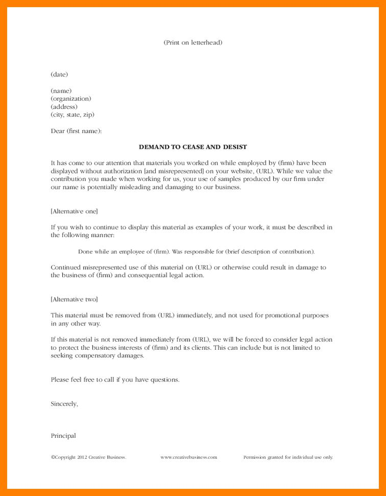 11+ cease and desist letter example | packaging clerks