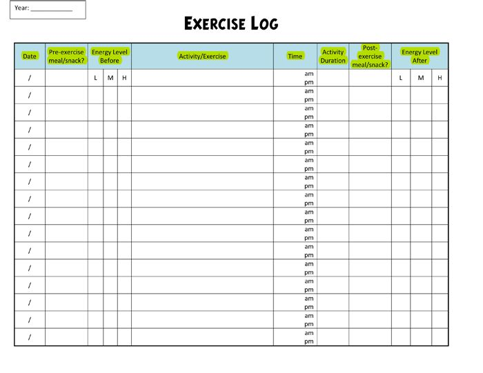 Exercise Log Template - 8 Plus Training Sheets