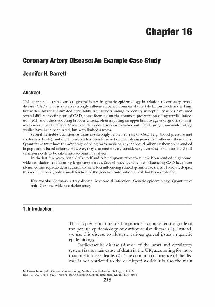 Coronary Artery Disease: An Example Case Study - Springer