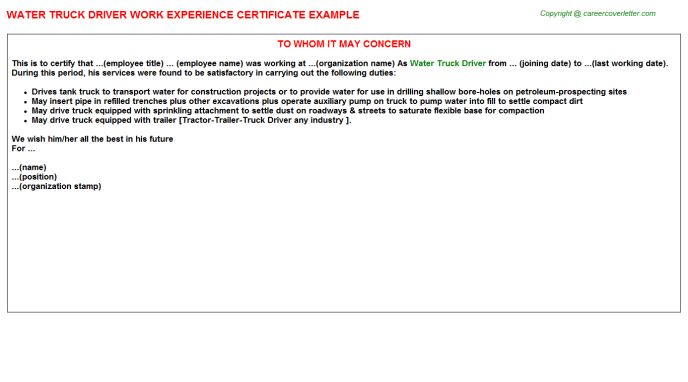 Water Truck Driver Work Experience Certificate