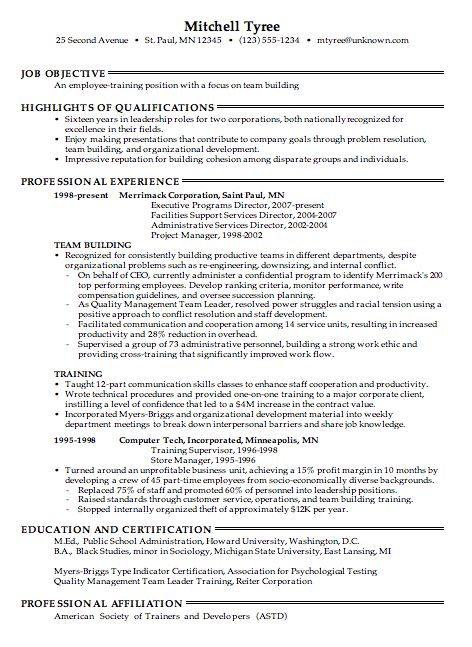 100+ [ Fitness Resume Sample ] | Corporate Trainer Resume Examples ...