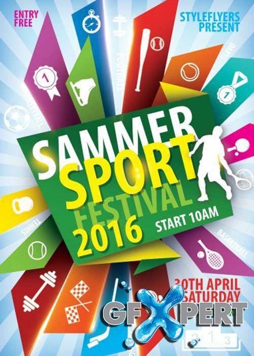 Free Sammer Sport Festival PSD Flyer Template download