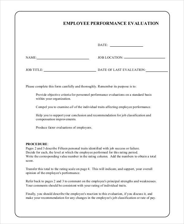 Sample Employee Evaluation - 7+ Examples in PDF, Word