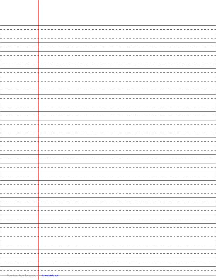 Wide Ruled Lined Paper with Dashed Center Guide Line - Black Lines ...