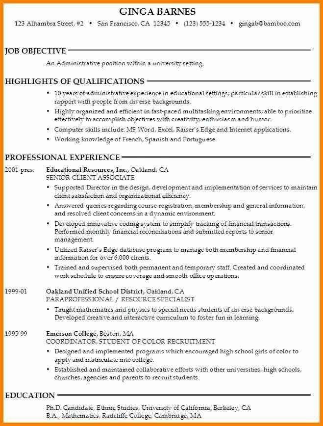 College Student Resume Objective - Best Resume Collection