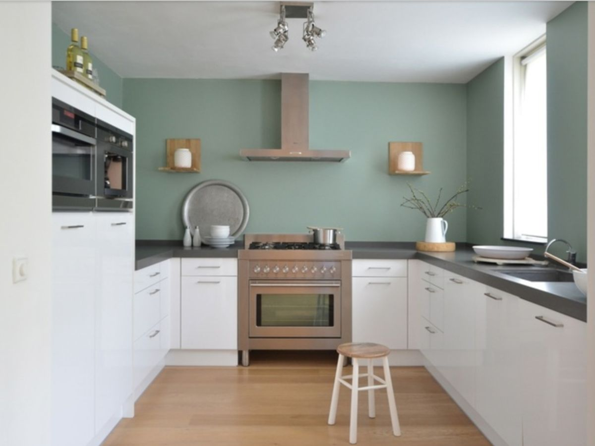 In plaats van de kast grijsgroen te maken ook een idee om de achterwand zo te verven mooie kleur - Keuken kleur idee ...