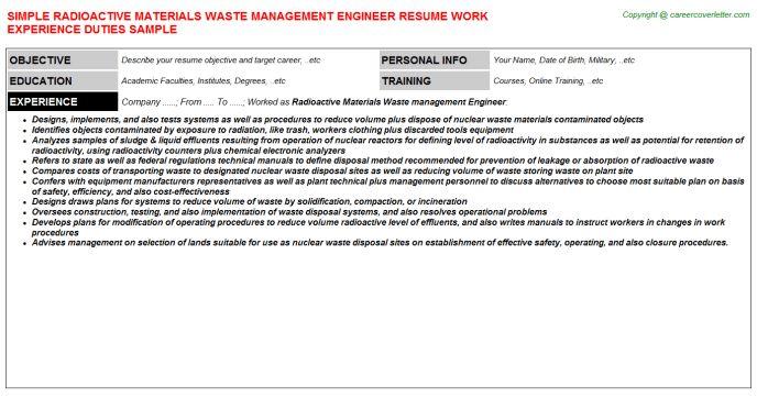 Radioactive Materials Waste Management Engineer Resume Sample