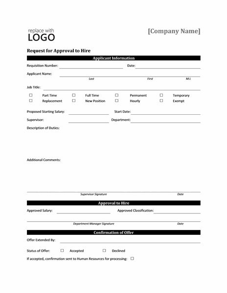 Request form for approval to hire - Office Templates