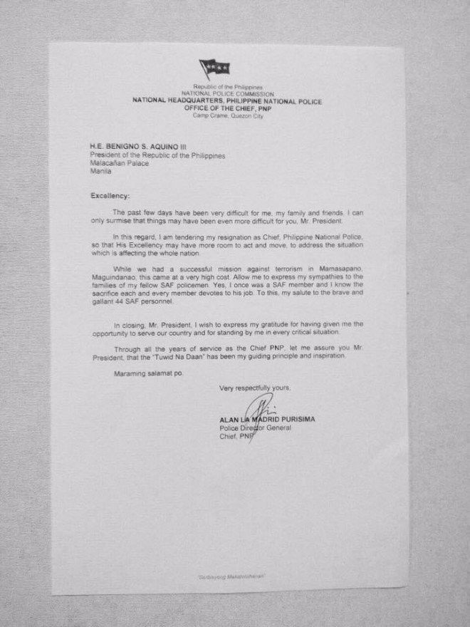 FULL TEXT PNP chief Alan Purisimau0027s resignation