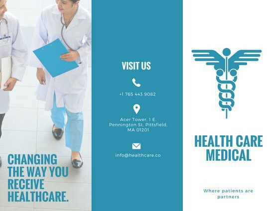 White and Blue Medical Trifold Brochure - Templates by Canva