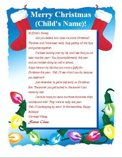 free printable letter from santa | christmas | Pinterest ...