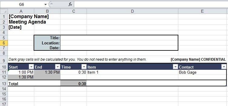 Meeting Agenda Template In Excel