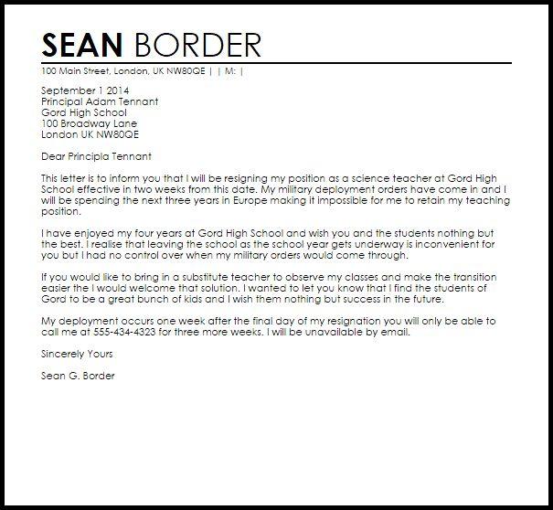 Teacher Resignation Letter To Principal | LiveCareer