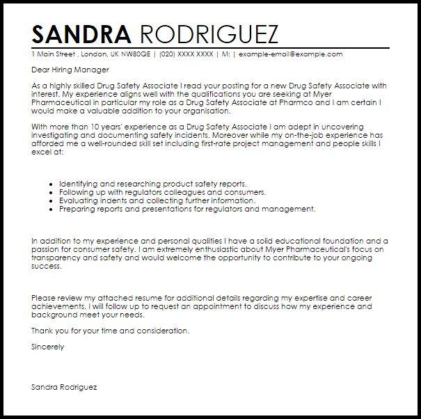 Drug Safety Associate Cover Letter Sample | LiveCareer