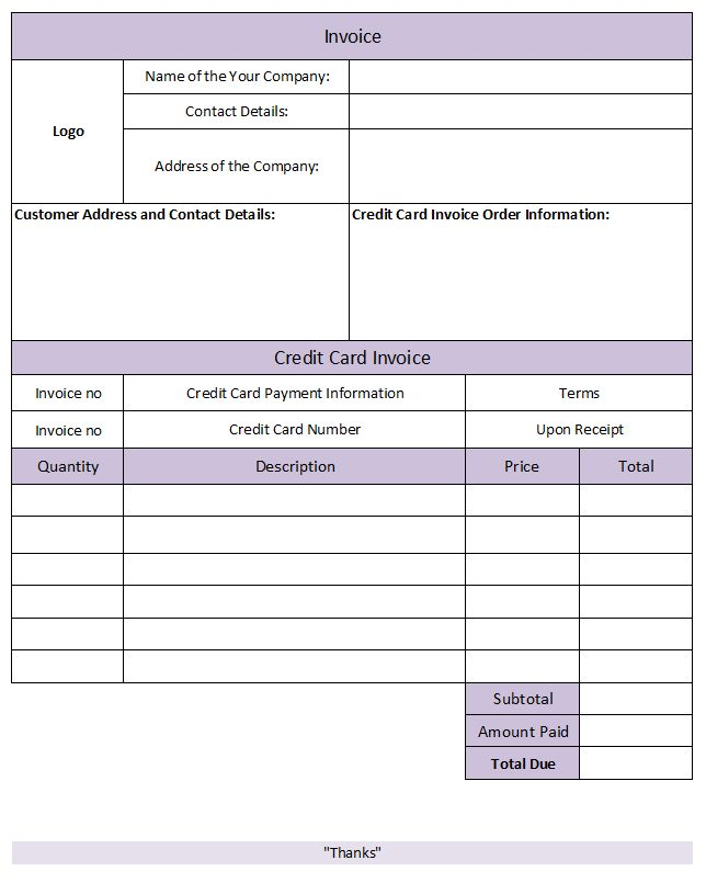 Credit Card Invoice Template   Invoice Template