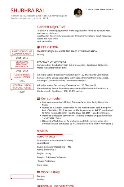 Fresher Resume samples - VisualCV resume samples database