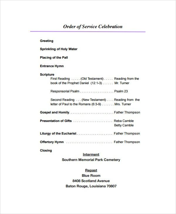 Sample Funeral Program Format Template - 6+ Free Documents ...