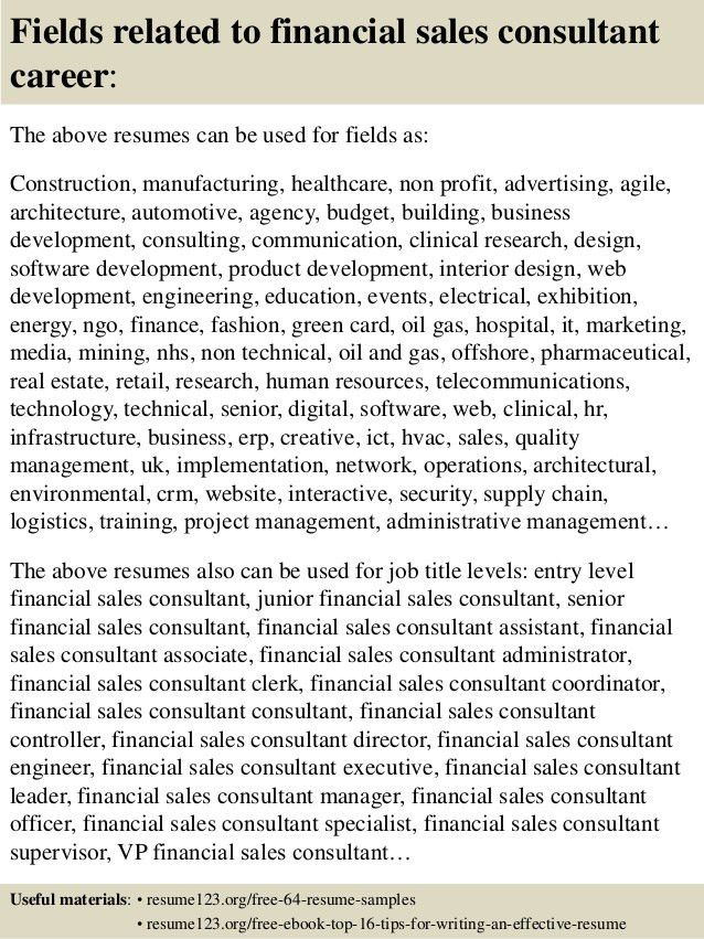 Top 8 financial sales consultant resume samples