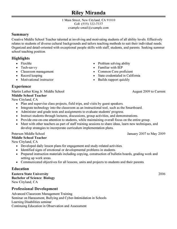 Middle School Science Teacher Resume - Best Resume Collection