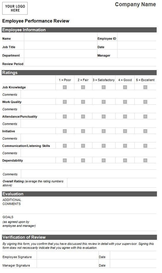 Employee Evaluation Template | Employee Performance Evaluation .  Appraisal Forms Templates