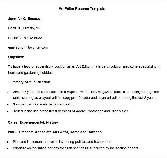 Media Resume Template – 31+ Free Samples, Examples, Format ...