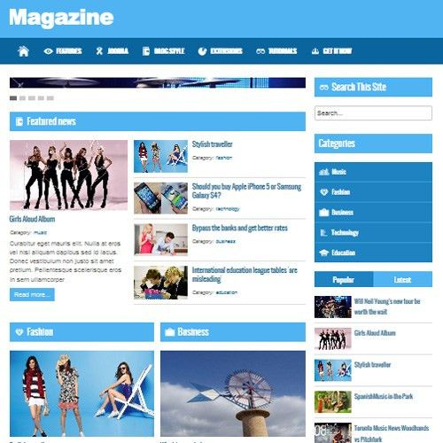 Free Magazine Joomla Template by Beautiful Templates