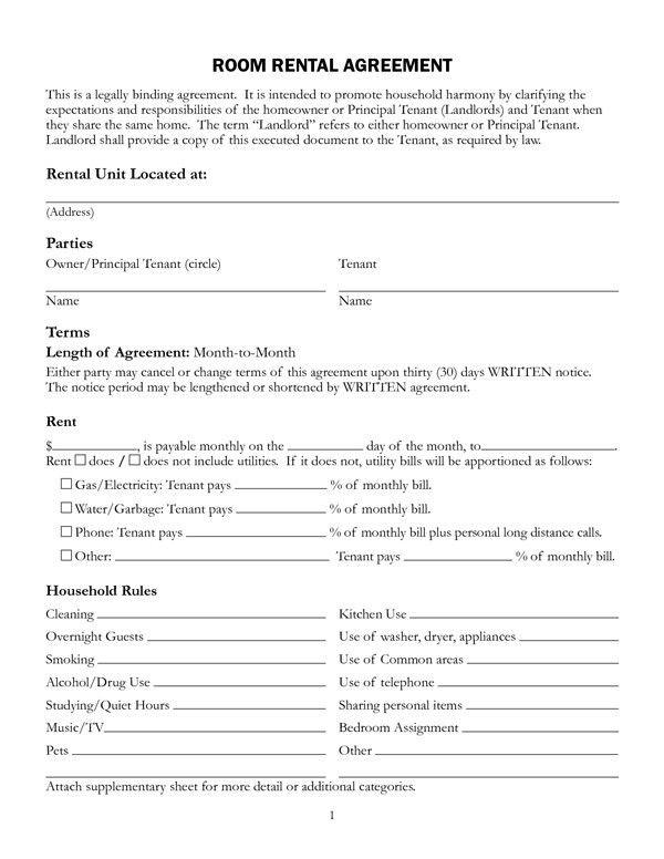 Room Rental Agreement Form | Sample Forms