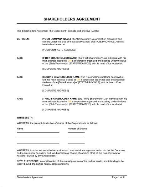 Shareholders Agreement - Template & Sample Form | Biztree.com