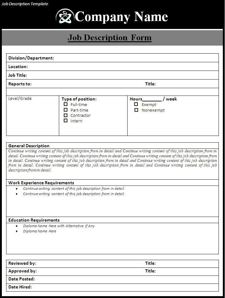 Job Description Template Shrm   Template Idea with Job Description ...
