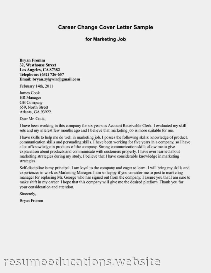 Cover letter example changing careers