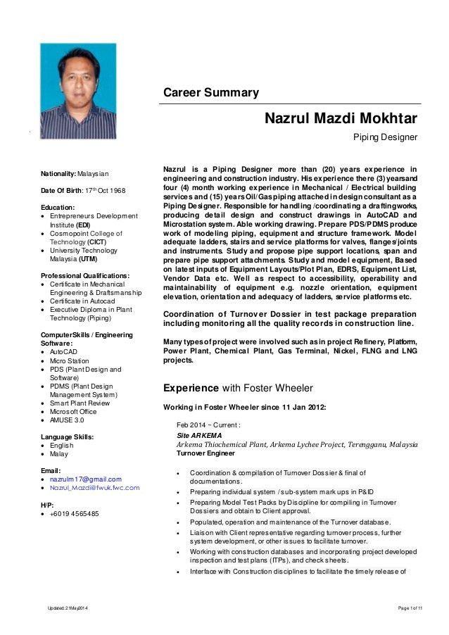 piping cv resumes resume templates pdms piping designer position ...