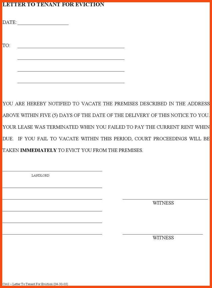 eviction letter template   program format