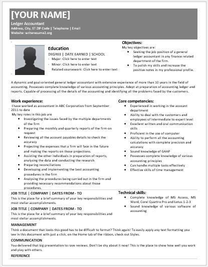 General Ledger Accountant Resumes for MS Word | Resume Templates