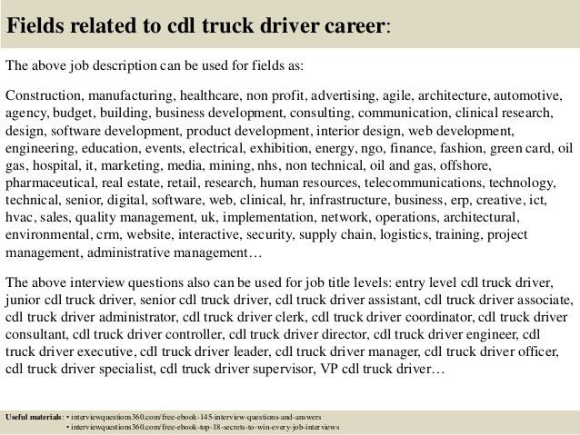 job description truck driver truck driver job description