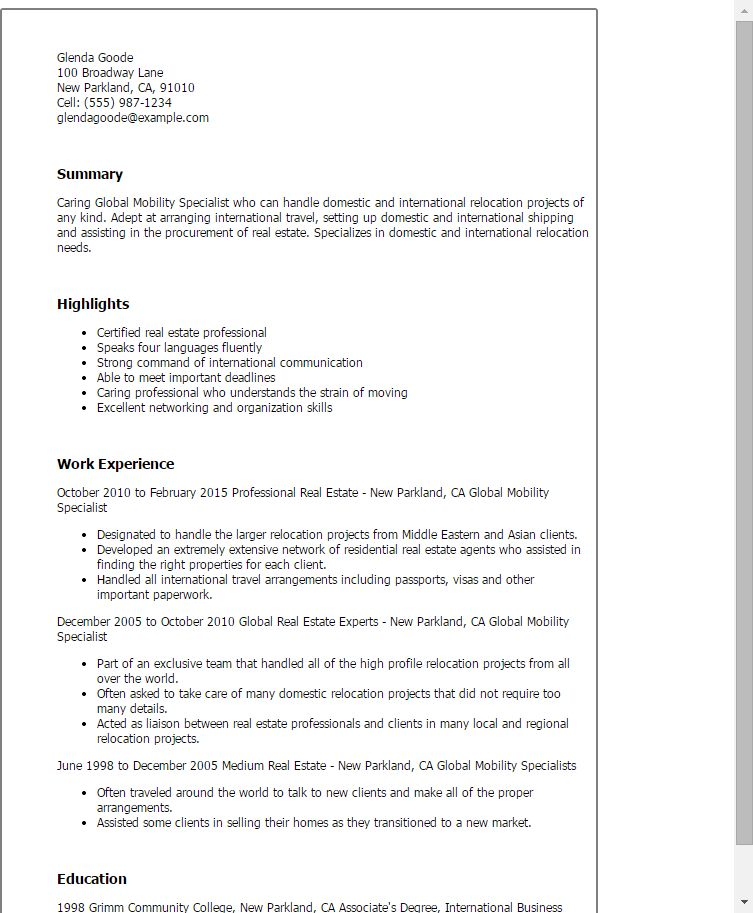 international relocation specialist resume templates global