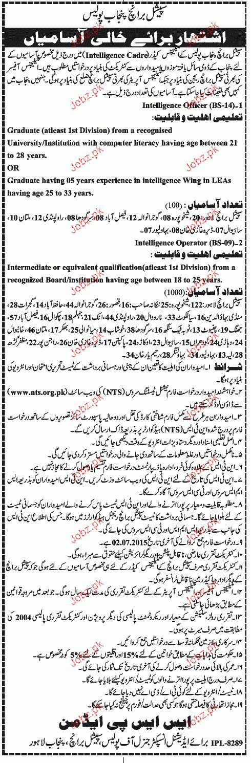 Recruitment of Intelligence Officer in Punjab Police 2017 Jobs ...