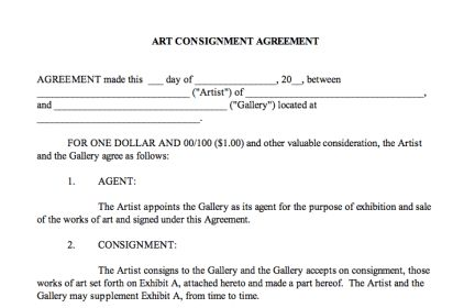 Consignment agreement | Center for Art Law