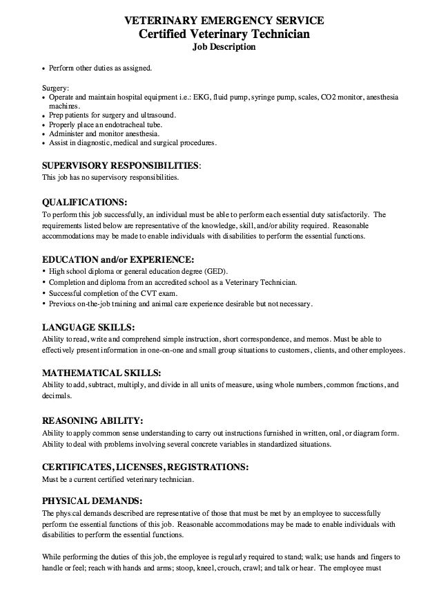 of Resume sample for Certified Veterinary Technician Resume ...