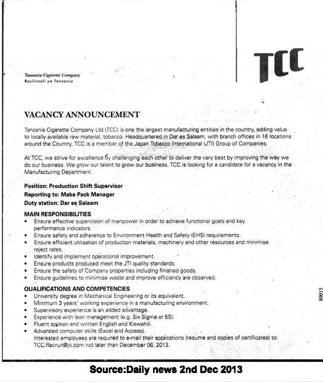 Production Shift Supervisor | TAYOA Employment Portal