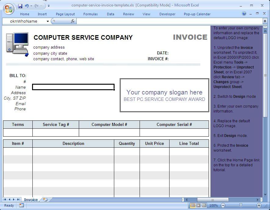 Computer Service Invoice Template - Uniform Invoice Software