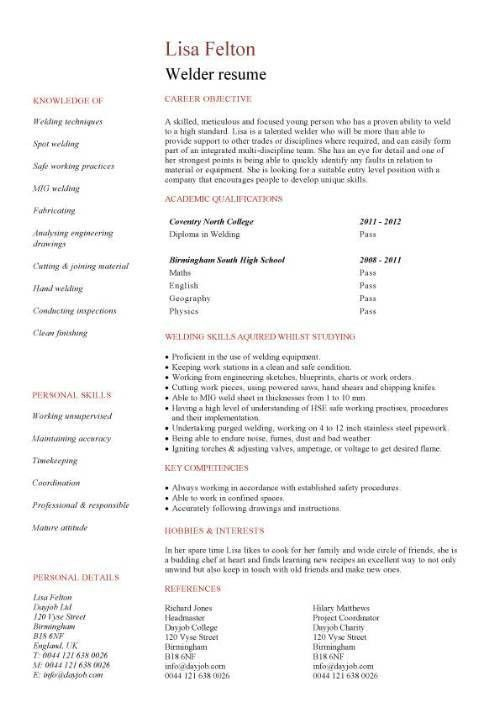 Welder CV sample
