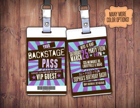 VIP PASS, backstage pass, concert ticket, birthday invitation ...