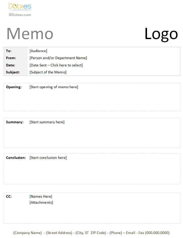 Formal Memo Template - Create a Pro Memorandum - Dotxes