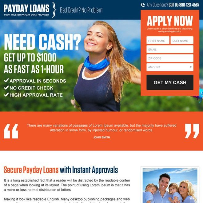 Payday loan landing page design templates for payday loan business ...