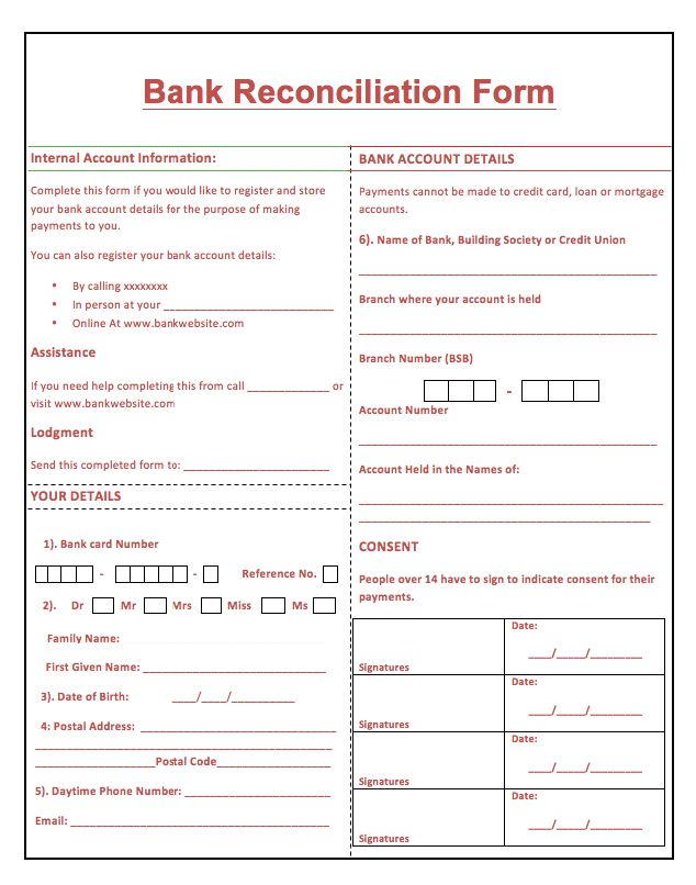 Printable Bank Reconciliation Form - http://resumesdesign.com ...