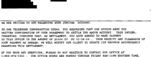 Juniper Bank Sample Debt Settlement Offer Letter - Leave Debt Behind