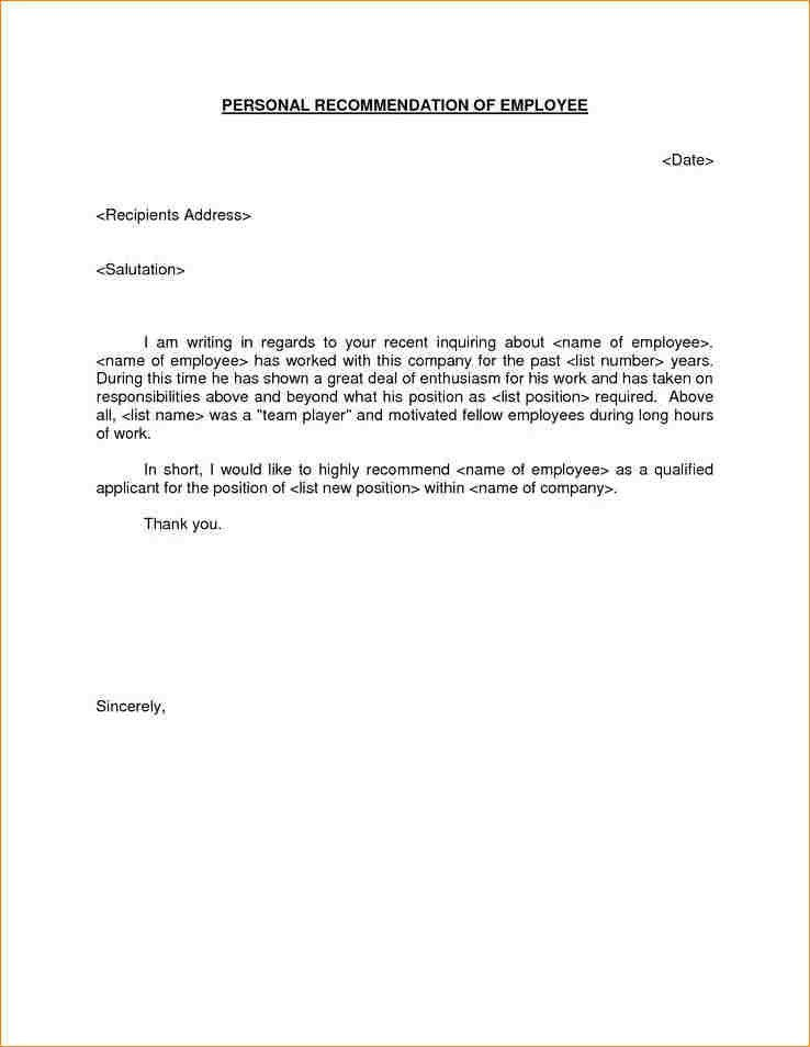 Letter Of Recommendation For Job. Letter Of Recommendation For ...