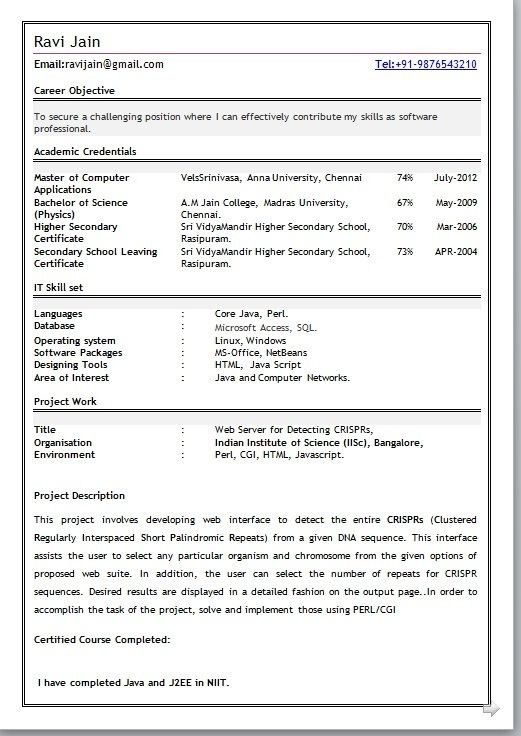 Resume Format For Mca Student - Best Resume Collection